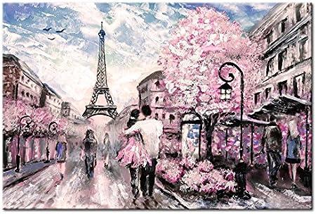 B/&D XXL murando Impression sur Toile intissee 90x60 cm 1 Piece Tableau Tableaux Decoration Murale Photo Image Artistique Photographie Graphique Paris France Paysage Toureiffel d-B-0147-b-a