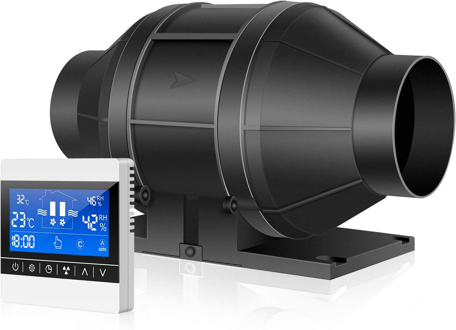 iPower 4 Inch 130 CFM Inline Duct Fan with Speed Humidity Temperature Controller for Grow Tent Ventilation, 4