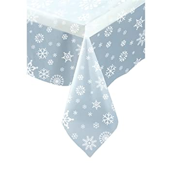 Clear Snowflake Plastic Tablecloth 108u0026quot; ...