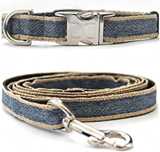 "product image for Diva-Dog 'Denim' Custom Small Dog 5/8"" Wide Dog Collar with Plain or Engraved Buckle, Matching Leash Available - Teacup, XS/S"