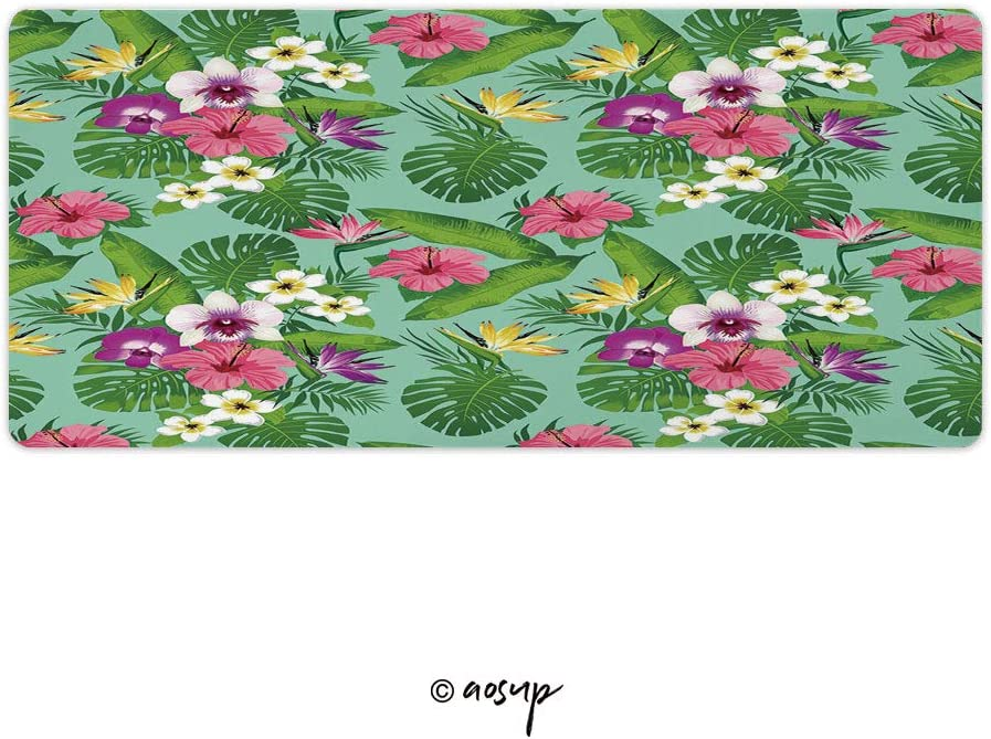 Tropical Flowers and Leaves On Turquoise Background Custom Design Stitched Edges Waterproof Non-Slip Rubber Base Mousepad 35.4 x 15.7 inch NO-65543 Homenon Professional Gaming Mouse Pad
