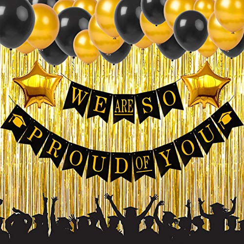 2019 Graduation Party Supplies Decorations We are So Proud of You Banner Black and Gold Graduation Party Supplies Kit with Latex Balloons Star Foil Balloons and Gold Curtain -