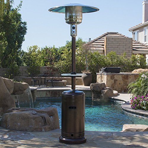 Belleze Patio Heater Propane with Adjustable Table, Hammered Tone Bronze -48,000BTU (Thermocouple Adjustable)