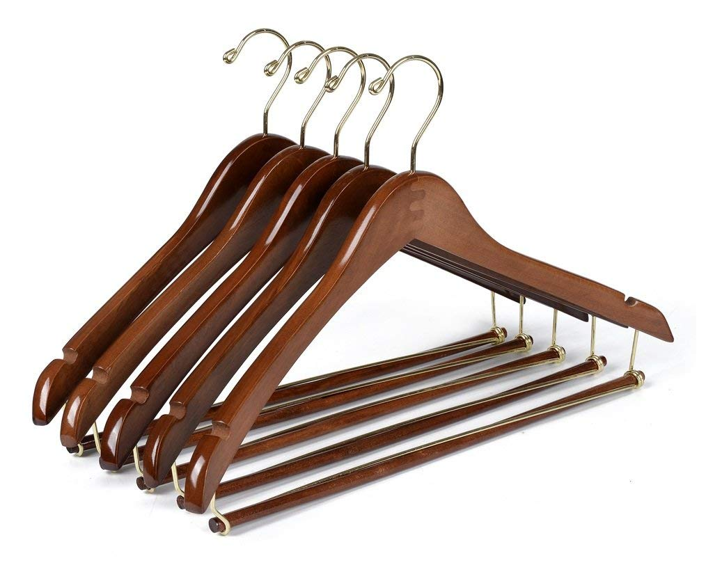 Quality Hangers 10 Curved Wooden Hangers Beautiful Sturdy Suit Coat Hangers with Locking Bar Gold Hooks Walnut Finish (10)