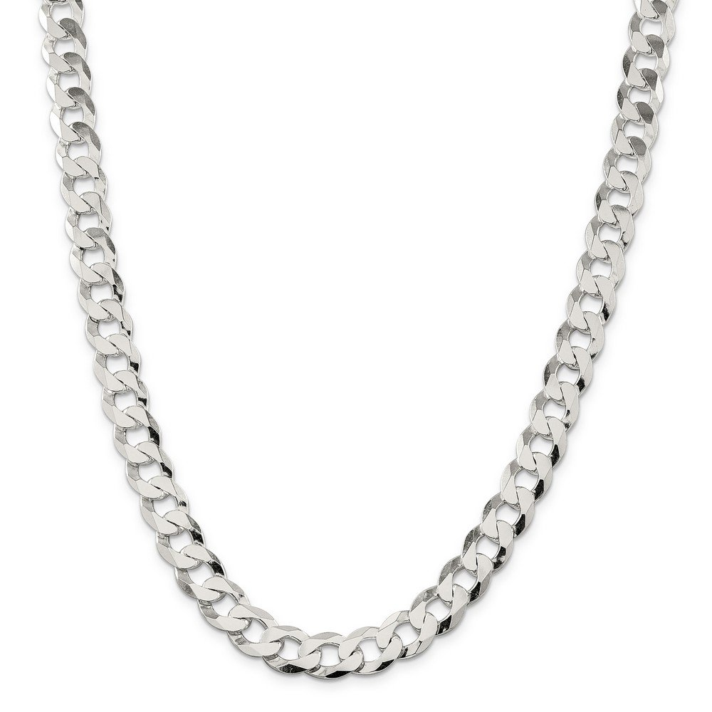 Sterling Silver 11.75mm Close Link Flat Curb Chain Bracelet - 9 Inch