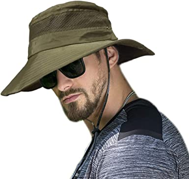 GHJK sun hat Fashion Summer Outdoor Beach Breathable UV protection Wide brimmed Fishing Polyester for Man boy