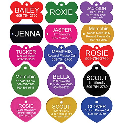 Pet ID Tags - Bone, Round, Heart, Bow Tie, and Rectangle. Front and Back Engraving. Various Colors and Sizes.