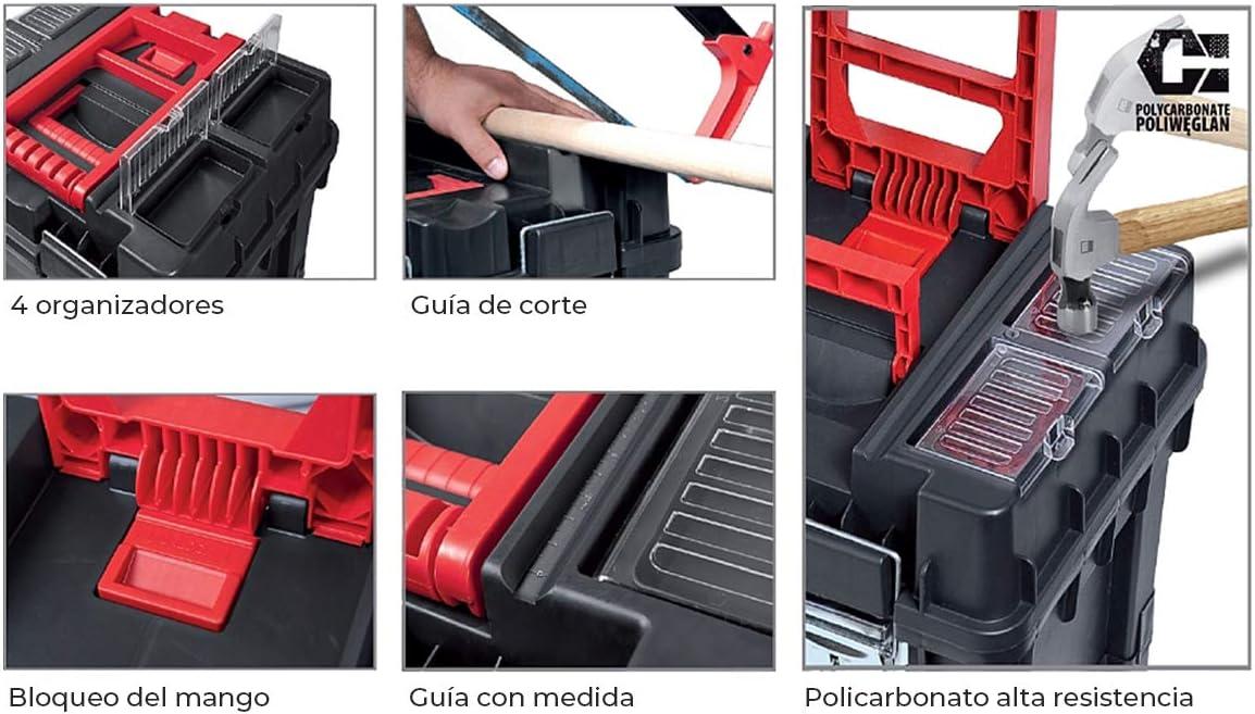 Bandeja interior CAJA de HERRAMIENTAS Vac/ía con Ruedas Pl/ástico 35x45x64cm Compact HD Desmontable Policarbonato