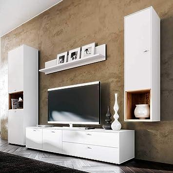 Pharao24 Design Wohnwand In Weiss Und Eiche Modern Amazon De Kuche