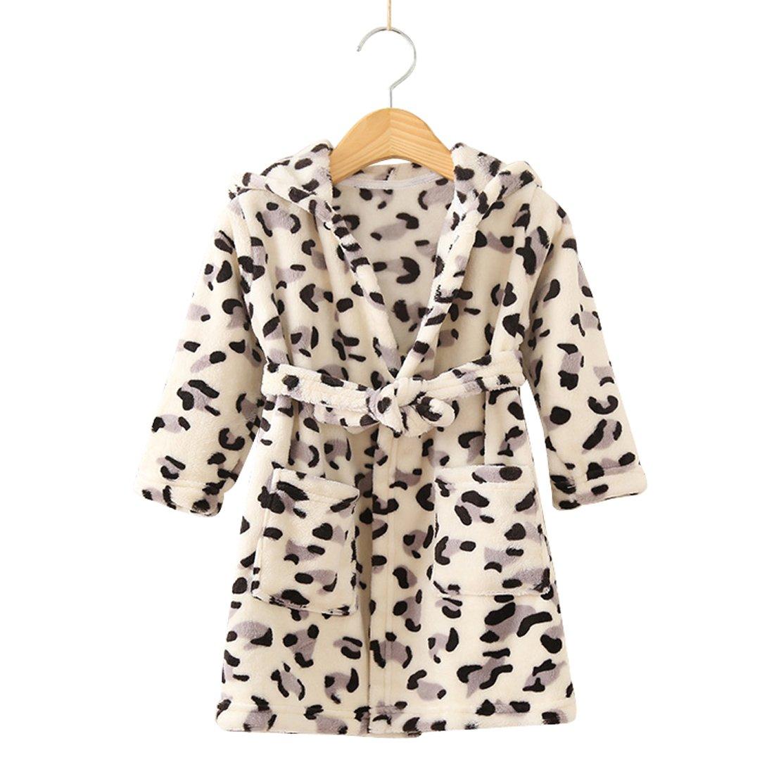 Toddlers/kids Hooded Robe Soft Fleece Bathrobe Children Pajamas Baby plush robe