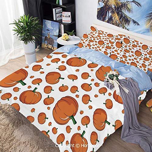 Homenon Three-Piece Bed,Halloween Inspired Pattern Vivid Cartoon Style Plump Pumpkins Vegetable Decorative,Full Size,Hypoallergenic,Cool Breathable,Orange Green White]()