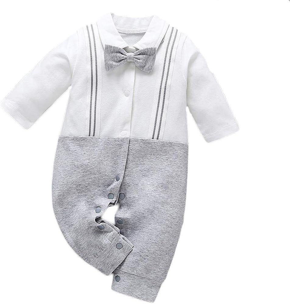MAYOGO Ropa Bebe Fiesta Monos Manga Largo Bebe Niño Mameluco BotóN Pelele Infantil Disfraz Niño Camisa Body V Cuello con Pajarita Recién Nacido bebé 3 a 24 Meses: Amazon.es: Ropa y accesorios
