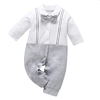 f29669d0f12 Amazon.com  TLoowy-Clearance Infant Toddler Baby Boys Romper Bow Tie  Gentleman Straps Jumpsuit Bodysuit Long Sleeve Button Cotton Outfits   Clothing