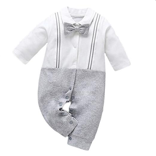 ec9fba0e85787 Amazon.com: Newborn Baby Boy Gentleman Bow Tie Lapel Strap Jumpsuit Romper  Clothes, Waymine: Clothing