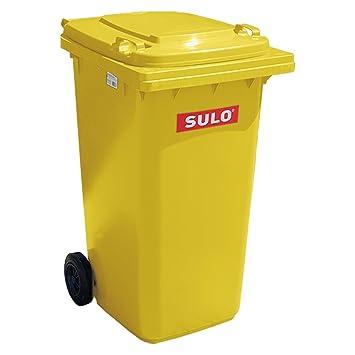 Cubo de basura 2 ruedas, contenedor a basura SULO 80 L, Amarillo (22124): Amazon.es: Hogar
