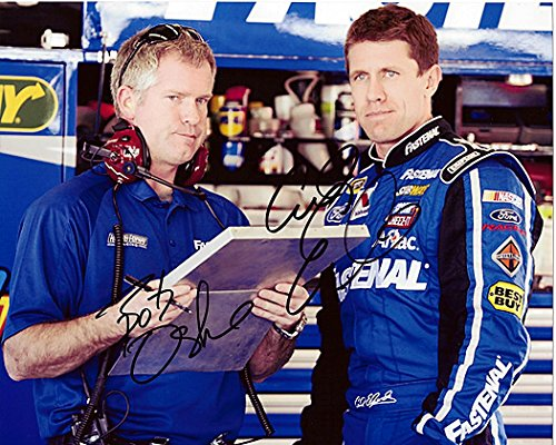 2X Autographed 2012 Carl Edwards   Bob Osborne  99 Fastenal Racing Team  Roush  Signed 8X10 Nascar Glossy Photo With Coa