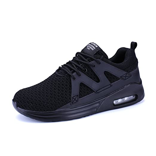 Shoes Mens Casual Shoes Leather Fashion Sneakers Comfort Outdoor Running Shoes Lightweight Driving Shoes (Color : Black Size : 44)