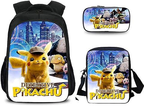 XLST Bolsa para La Escuela Impresión 3D Pokemon Colegio Mochila 3 Piezas Conjunto (Bolso Escolar De Estudiantes + Bolso De Hombro + Estuche),C: Amazon.es: Deportes y aire libre