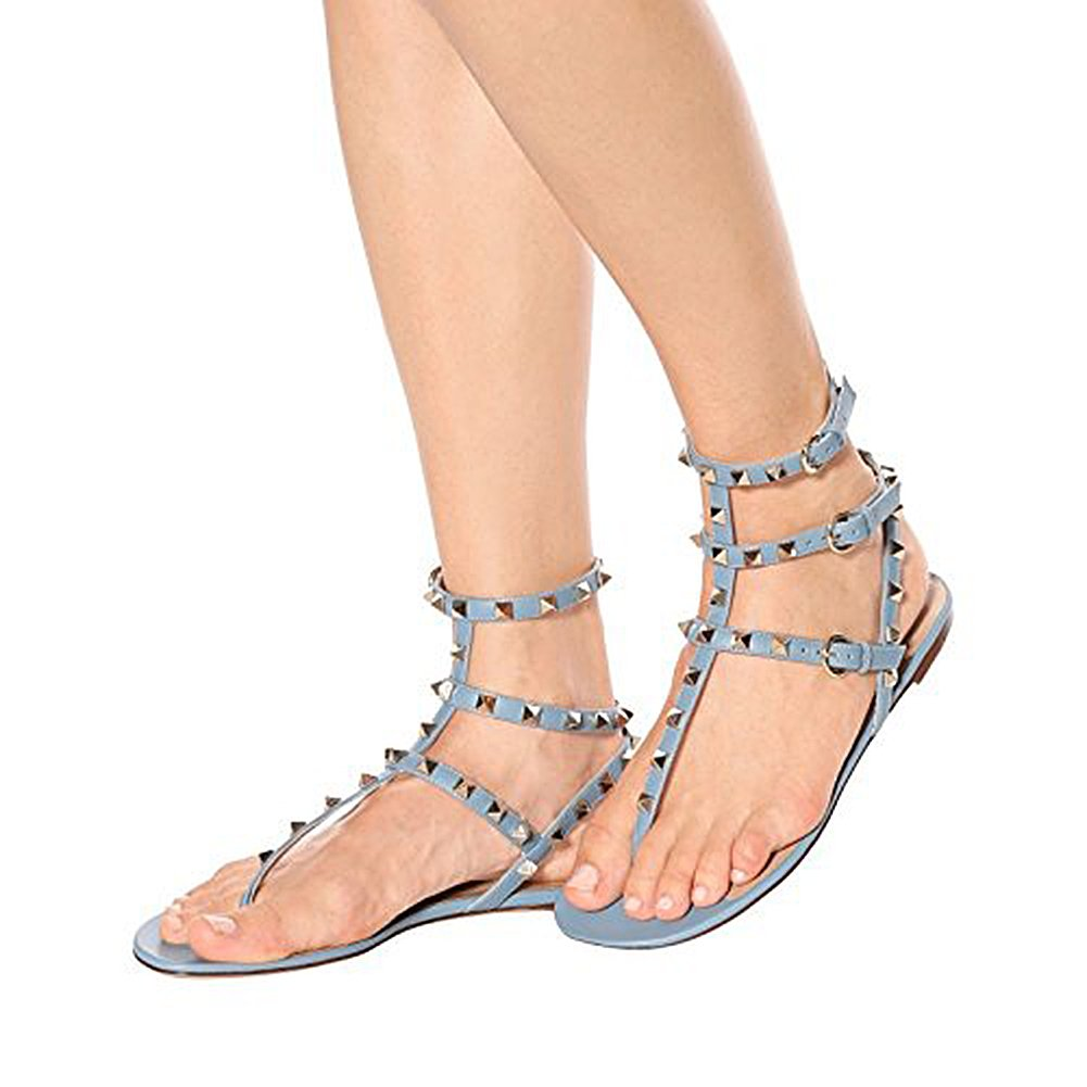 Lutalica Lutalica Lutalica Damenmode T-Strap Besetzt Casual Komfort Sommer Flache Sandalen Schuhe Blau 32580b