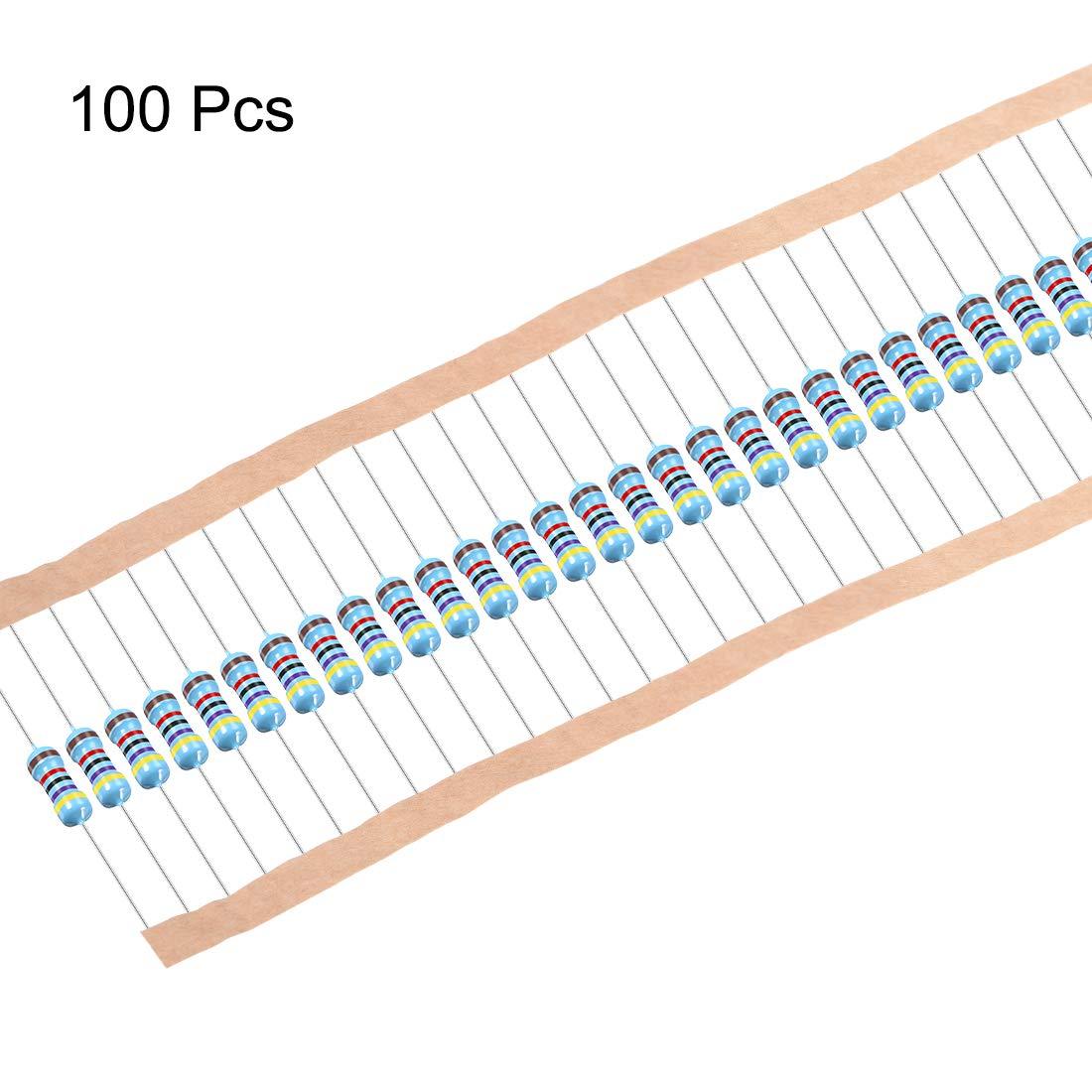 sourcing map 1//2W 47K Ohm Metal Film Resistors 0.5W 1/% Tolerances 5 Color Bands 100 Pcs