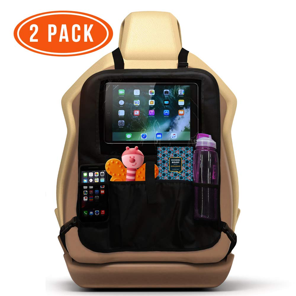 Car Backseat Toy Organizers/Front Car Seat Protector for Kids (2 Pack). Back Seat Kick Mat to Protect Your Carseats from Shoe Marks and Damage. Storage Pockets, iPad and Tablet Holder. by Ozziko by Ozziko