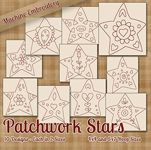 - Patchwork Stars Redwork Embroidery Machine Designs on CD - 10 Cute Whimsical Patterns - 2 Sizes Each - PES JEF EXP XXX VIP HUS DST