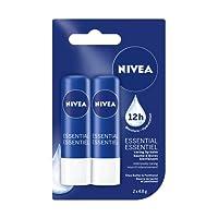 NIVEA Essential Caring 12H Moisture Lip Balm Sticks, Duo Pack (2 x 4.8 g)