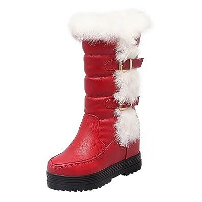6837919374 UH Damen Keilabsatz Plateau Stiefel Kniehohe Boots mit Fell Freizeit Warm  Winter Schuhe
