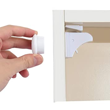 Cabinet Locks Child Safety, Baby Proofing Hidden Magnetic Lock with Strong  3M Adhesive for Drawers Kitchen Cabinet Cupboard (4 Pack)