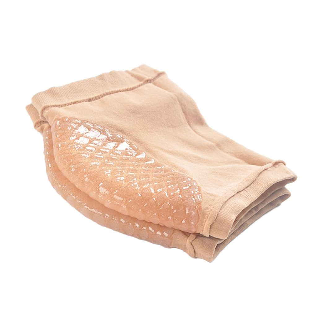D DOLITY 2pcs Soft Breathable Moisturizing Heel Socks with Gel to Heal Dry Cracked Heels - SKin Color, as described