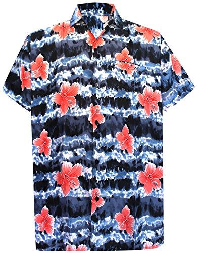Short Sleeve Front Pocket (La Leela Aloha Hawaiian Tropical Beach Solid Plain Mens Casual Short Sleeves Button Down Tropical Shirts XS Multicoloured)