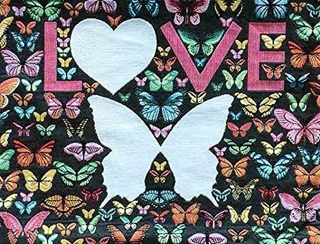Funda de almohada Gobelin - mariposas Love - CA 40 x 50 cm ...