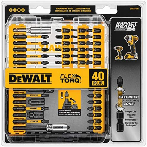 DEWALT Screwdriver Bit Set, Impact Ready, FlexTorq, 40-Piece (DWA2T40IR), Black/Silver Imapct Ready FlexTorq Screw Driving Set, 40-Piece