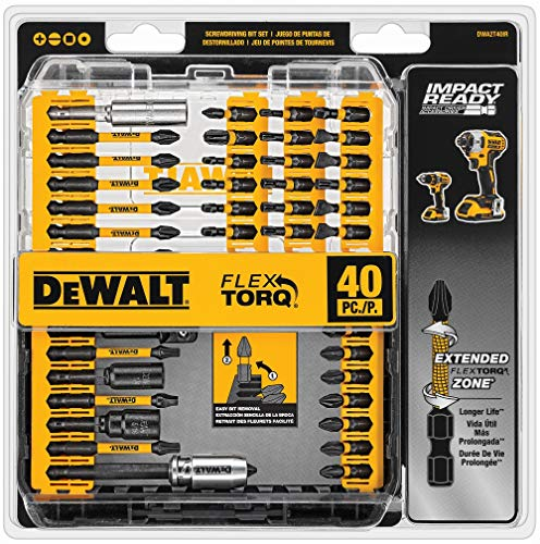 DEWALT Screwdriver Bit Set, Impact Ready, FlexTorq, 40-Piece (DWA2T40IR) (Set Bit Dewalt Impact)