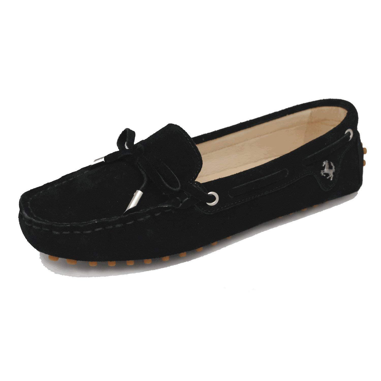 Qiusa Mädchen-Frauen-zufälliges bequemes schwarzes Wildleder-Leder-Knoten-Müßiggänger-Stiefel-Schuh-Ebenen 4 4 4 Großbritannien (Farbe   - Größe   -) 728123