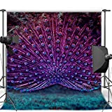 5x7ft Beautiful Peacock Tail wedding wall Backgrounds High-grade Pictorial cloth Computer print party backdrop CM-6823