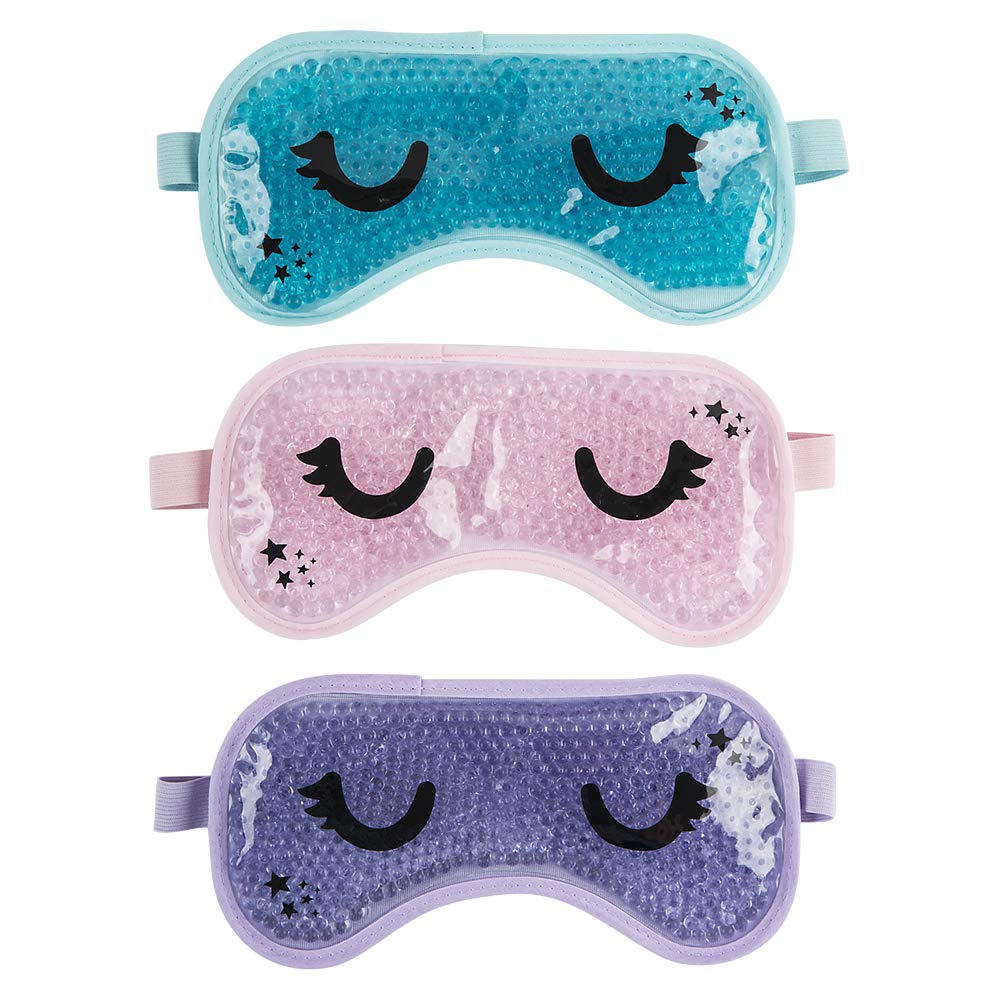 3 Pack - Gel Bead Reusable Eye Mask - Heat or Cold Sleep Mask for Women and Men