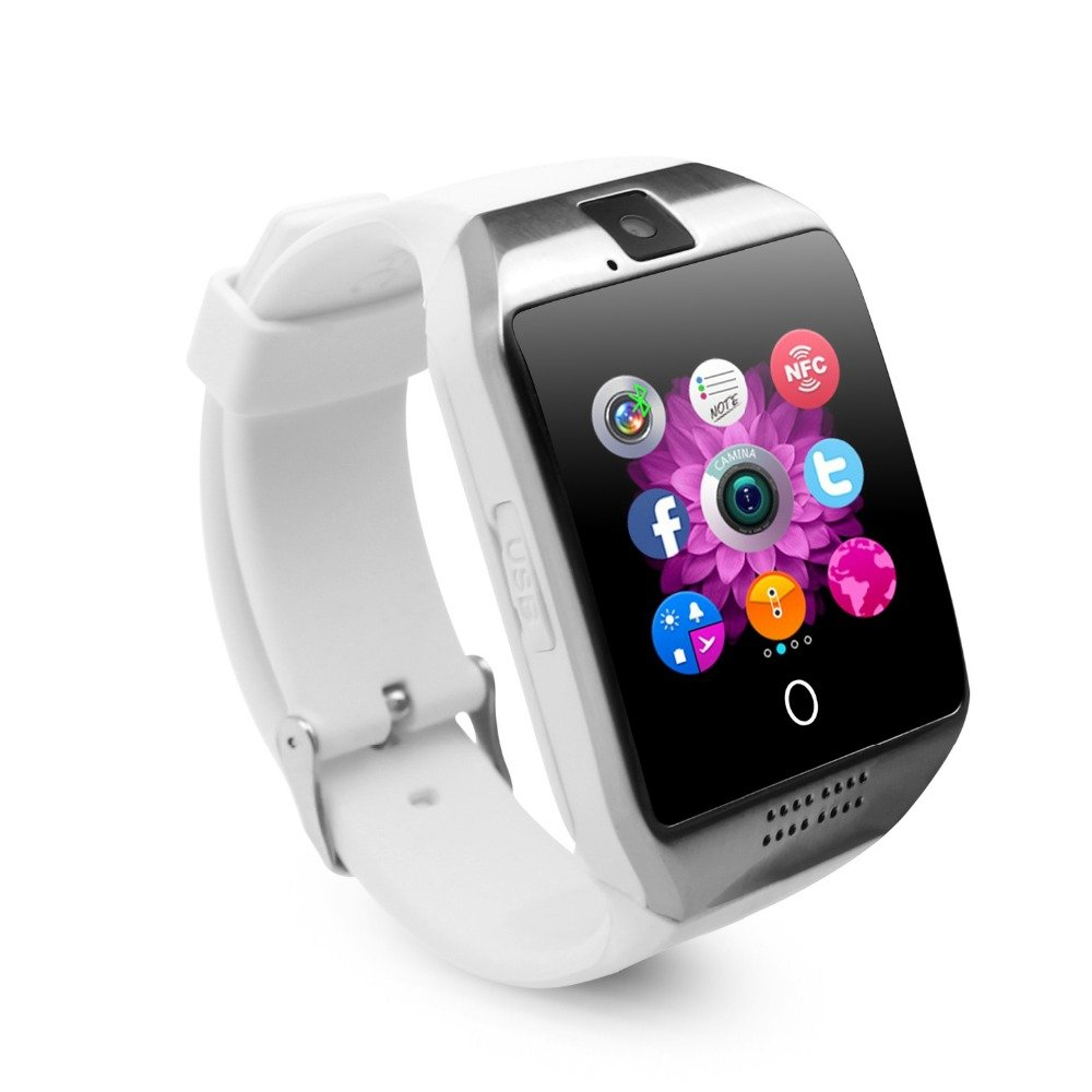Smart Watch with Camera, TechFaith Q18 Bluetooth Smartwatch with Sim Card Slot Fitness Activity Tracker Sport Watch for Android Smartphones (White)