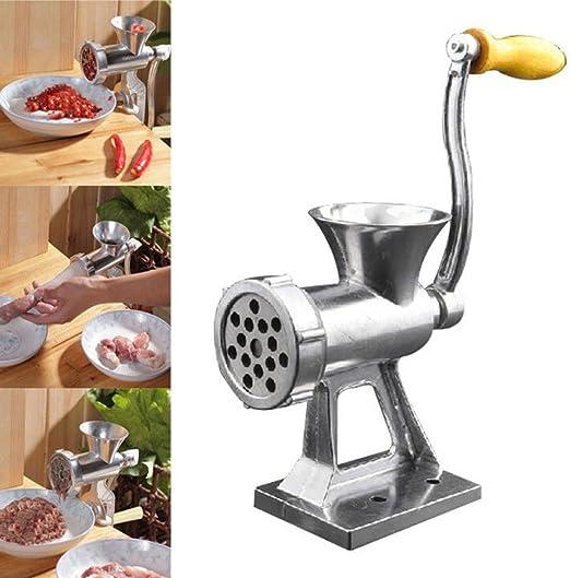 Table Hand Crank Manual Meat Grinder Mincer Stuffer Sausage Filler ...