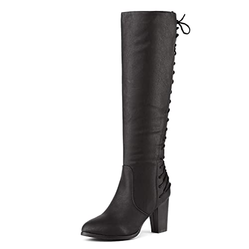 DREAM PAIRS Women's MIDLACE Black PU Over The Knee High Boots Size 5 B(M) US best women's knee-high boots