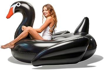 Floatie Kings Cisne Negro Flotador de Piscina - Inflable Gigante