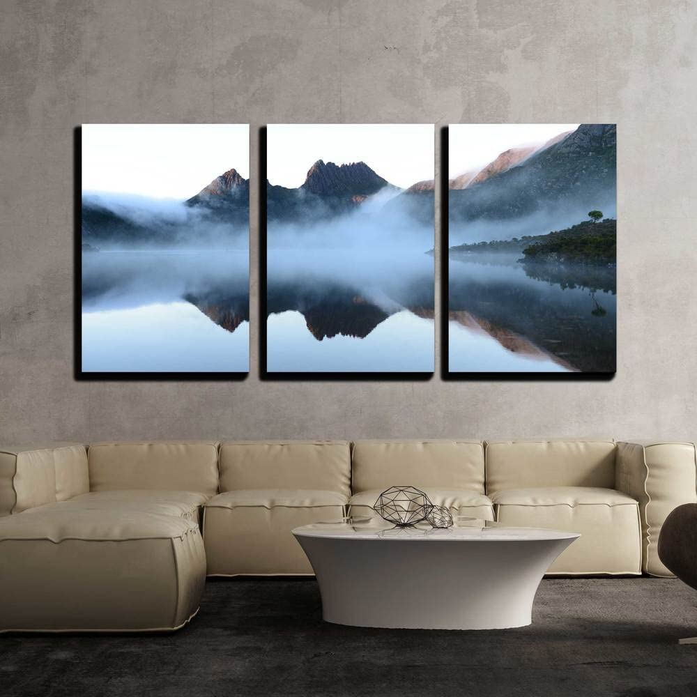 "wall26 - 3 Piece Canvas Wall Art - The Reflex of Cradle Mountain on The Surface of Dove Lake During Morning - Modern Home Decor Stretched and Framed Ready to Hang - 24""x36""x3 Panels"