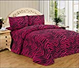3 Piece Zebra Animal Print Super Soft Executive Collection 1500 Series Bed Sheet Set Twin Size (Pink Zebra)