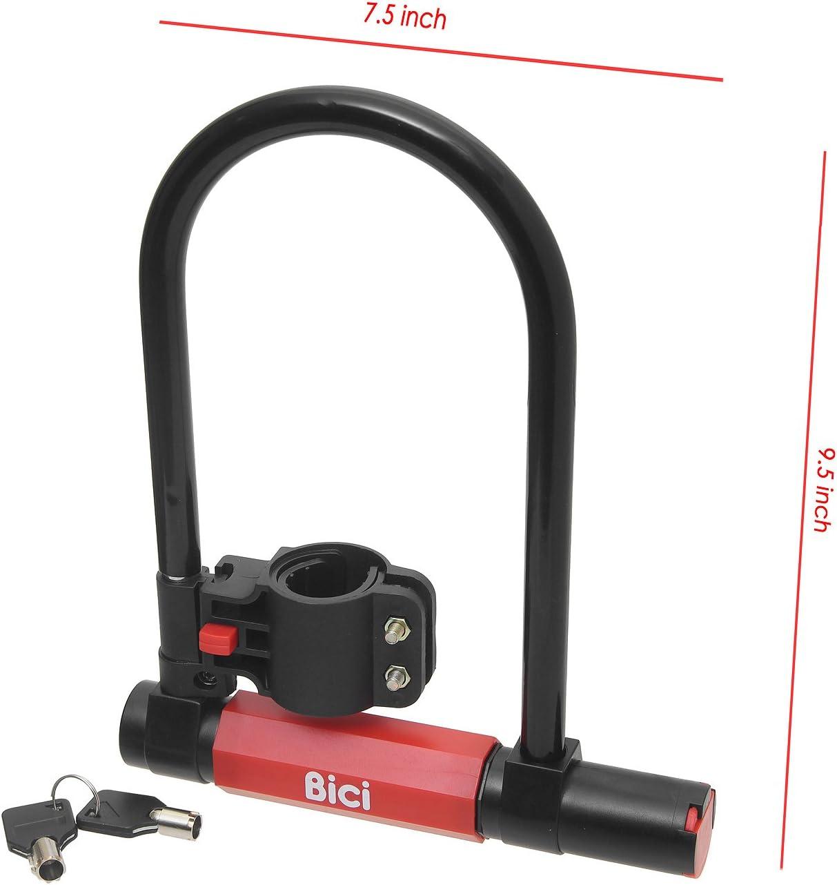 Bici U-Lock Bike Bicycle Bracket Heavy Duty 15mm Anti-Rust Anti-Saw w//Mounting Bracket /& 2 Keys