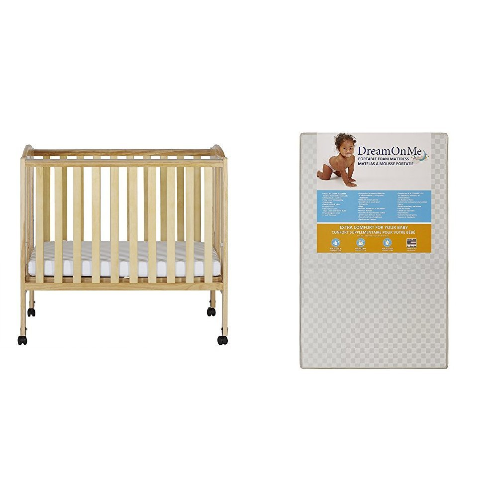 Dream On Me 2 in 1 Portable Folding Stationary Side Crib with Dream On Me 3 Portable Crib Mattress, Natural