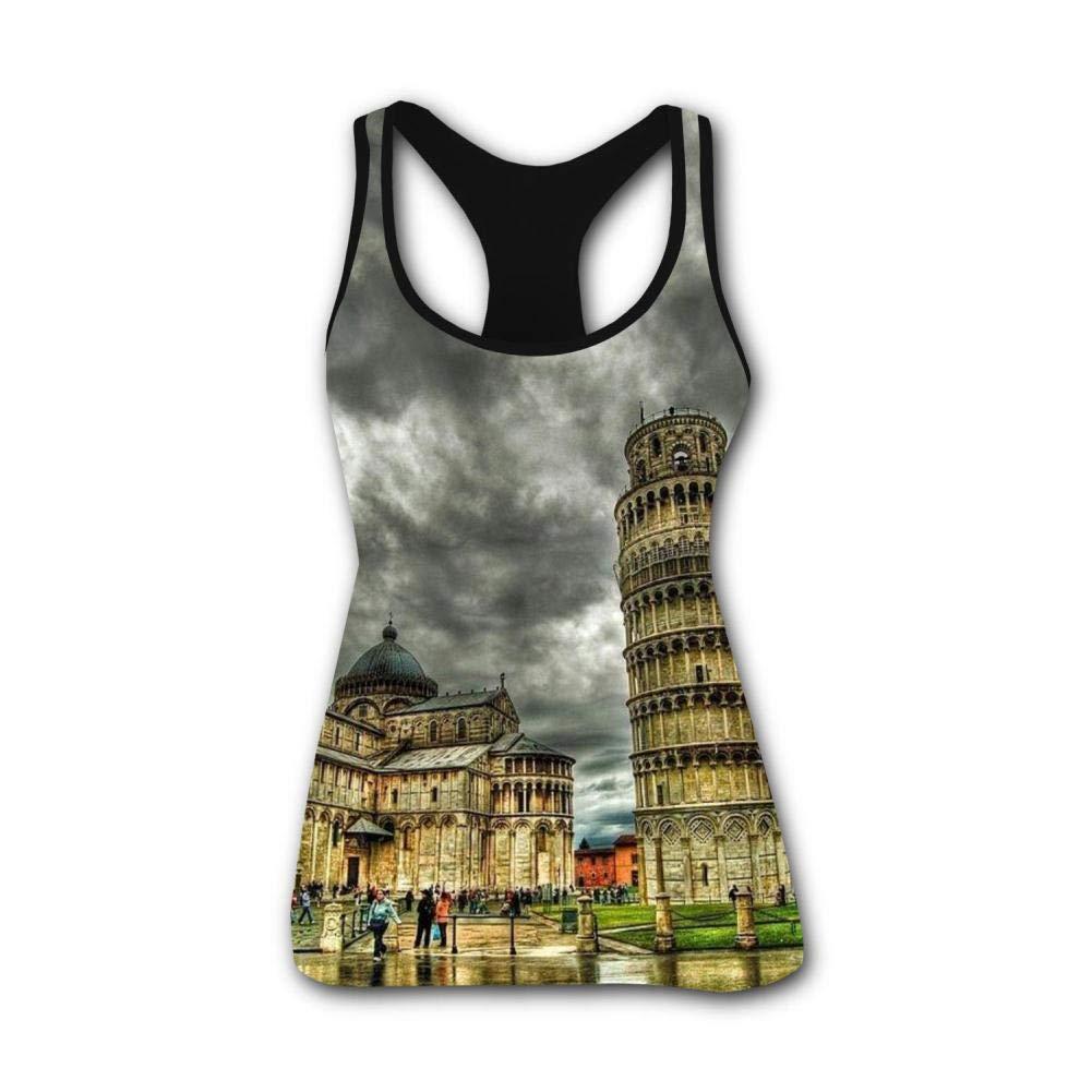 Italy Pisa Tower 3D Print Casual Custom Sleeveless Tanks Vest T-Shirt Women Girl M