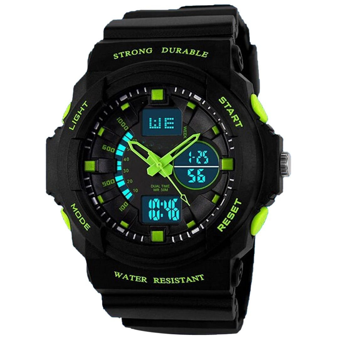 Wensltd 2015 Outdoor Mountaineering Sports Watch Waterproof LED Digital Watch boy(Green)