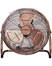 Schallen Copper Metal High Velocity Cold Air Circulator Adjustable Floor Fan with 3 Speed Settings