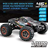 Hosim Large Size 1:10 Scale High Speed 46km/h 4WD 2.4Ghz Remote Control Truck 9125,Radio Controlled Off-road RC Car Electronic Monster Truck R/C RTR Hobby Grade Cross-country Car (Black)
