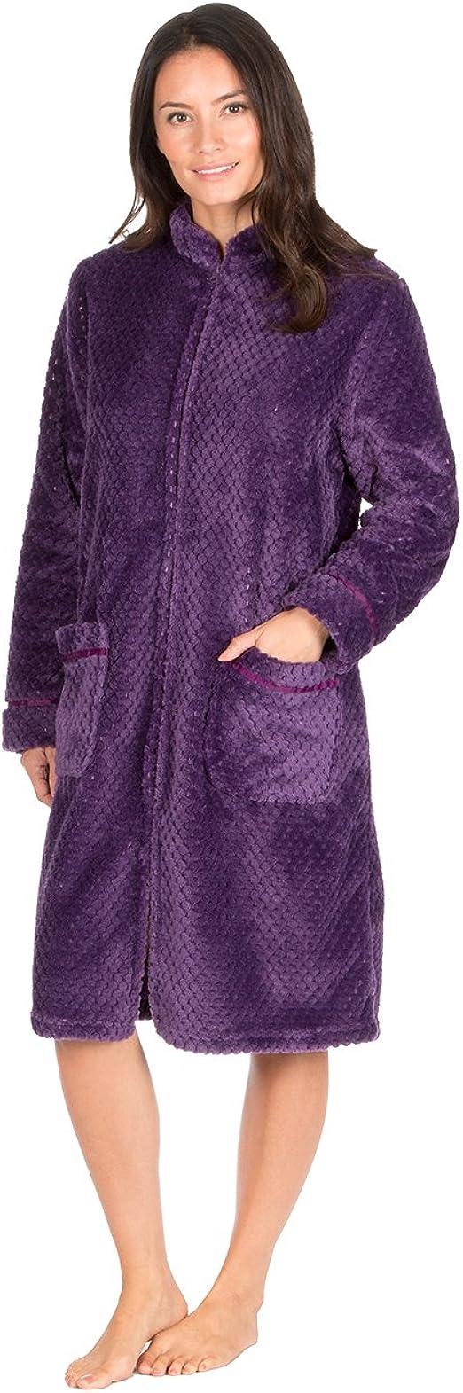 Ladies Waffle Fleece Zip Front Dressing Gown